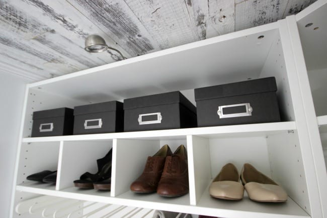 This new closet has plenty of space for shoes.
