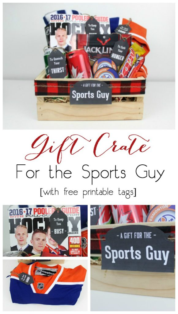 Perfect for the Athlete or Sports Guy! Instead of gift baskets, why not opt for the more manly Gift Crate?! The perfect crate for any guy on your list, plus an amazing list of suggestions!