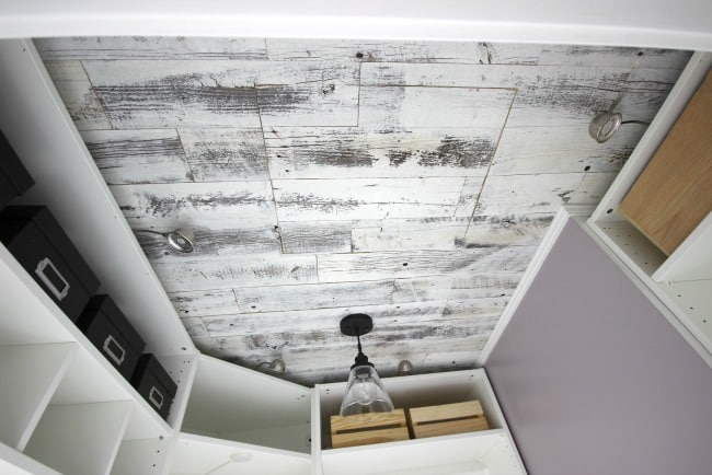 This weathered wood ceiling made an amazing transformation in our closet.