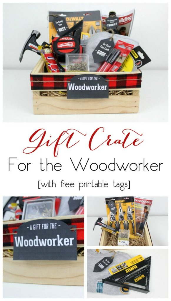 Perfect for the Woodworker or builder! Instead of gift baskets, why not opt for the more manly Gift Crate?! The perfect crate for any guy on your list, plus an amazing list of suggestions!