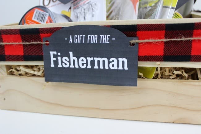 "Photo of gift crate with tag that reads ""A gift fo the fisherman"""
