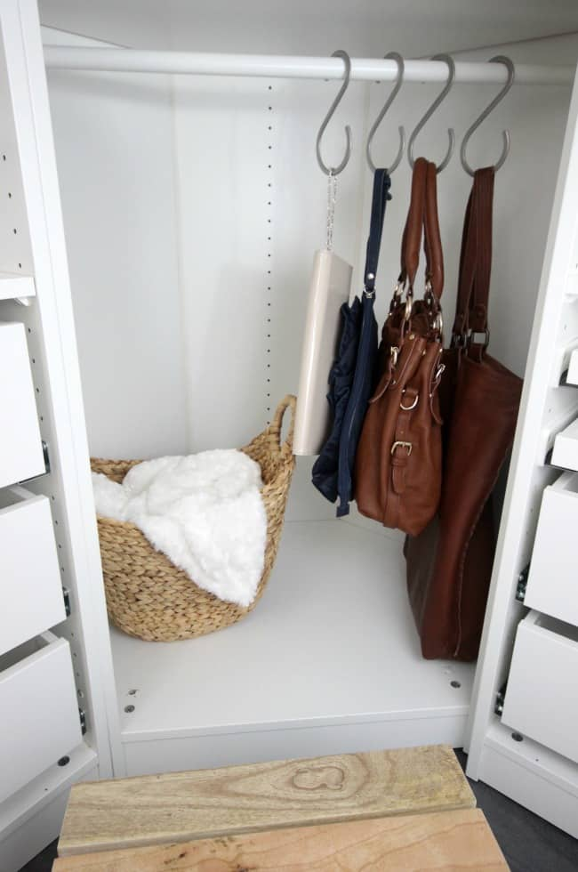 Hooks are a great way to store purses!
