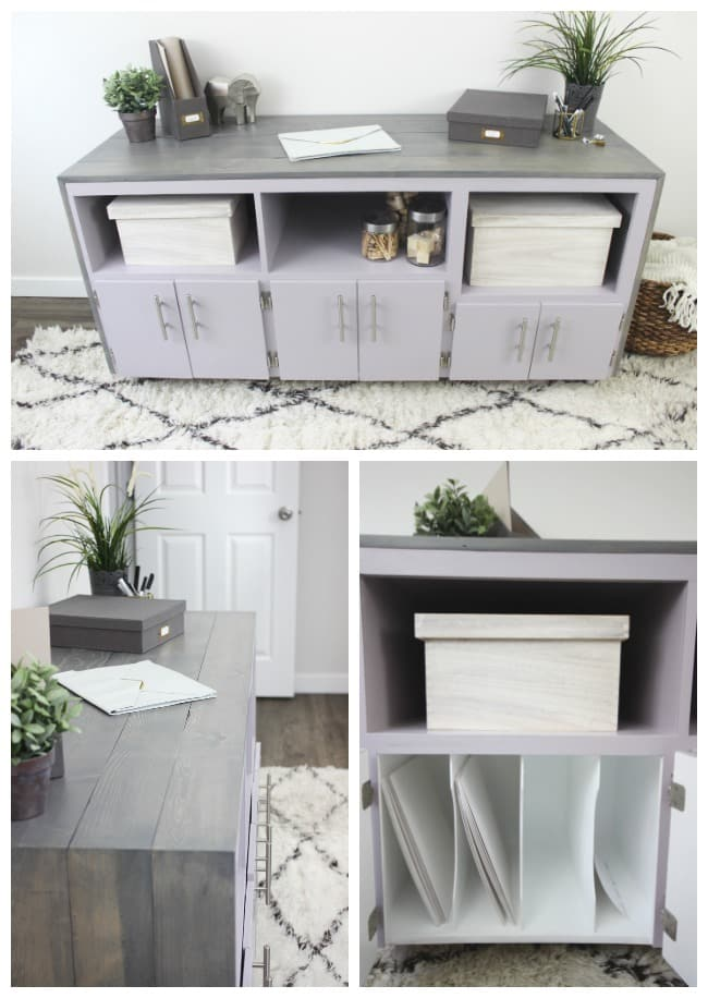 "Organize your office or craft space with a beautiful sideboard makeover! ""You Look Mauve-lous"" is the Beauti-Tone colour of the year and looks gorgeous in the furniture flip! #BeautiTone"