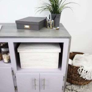 "Organize your office or craft space with a beautiful sideboard makeover! ""You Look Mauve-lous"" is the Beauti-Tone colour of the year and looks gorgeous in the furniture flip!"