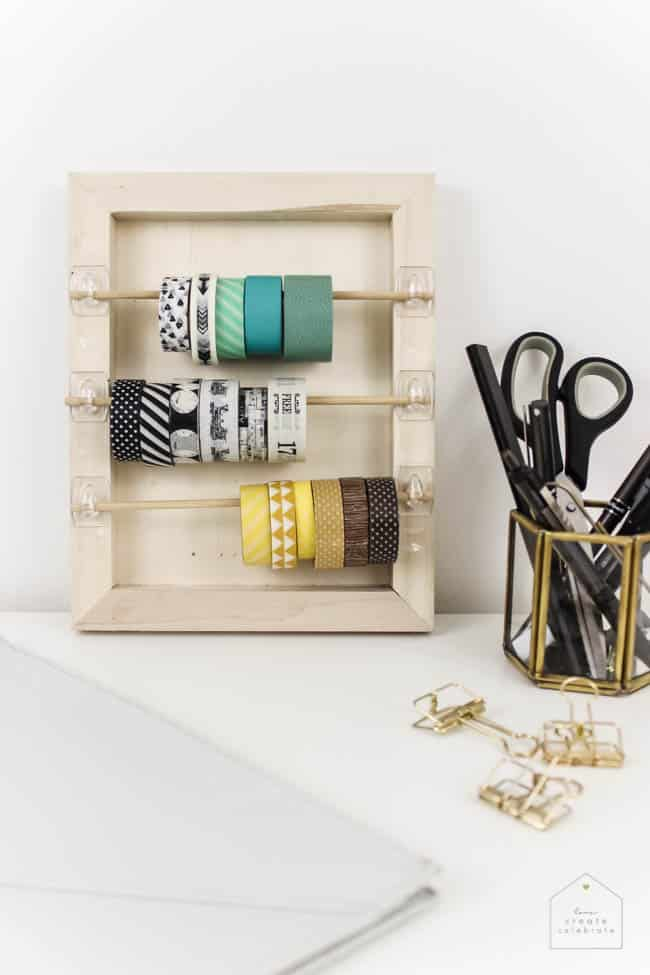 Organize your craft space with this simple DIY that will take you less than 5 minutes! Great for washi tape, ribbon, twine, etc. and PERFECT for any craft space!