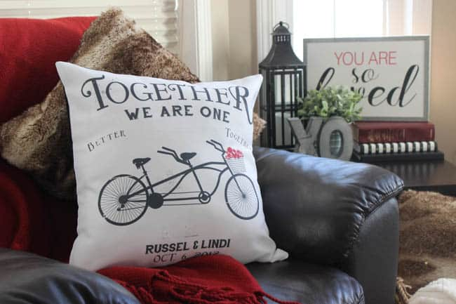 LOVE this pillow with the wedding date on it! Perfect gift idea for a wife or husband, or newly married couple!