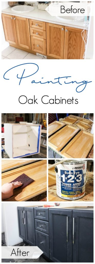 How to Paint Oak Cabinets Transform outdated oak cabinets in just a few simple steps! LOVE the chic modern results and the navy colour!