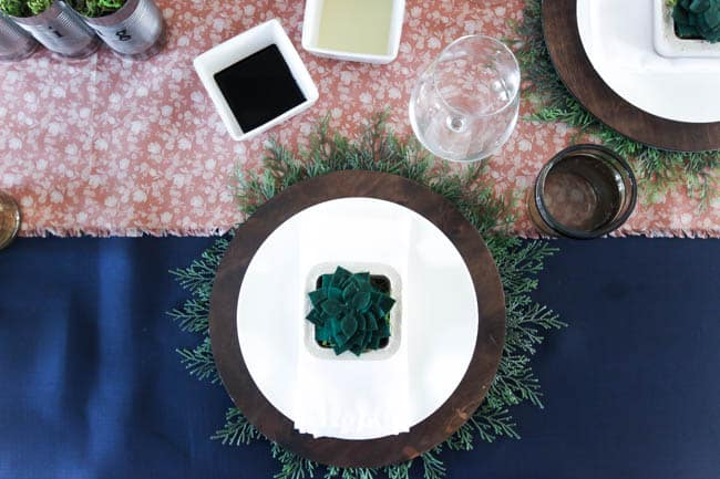 Beautiful earthy blues and greens for a spring or summer tablescape. LOVE the natural tones and textures in this table setting!