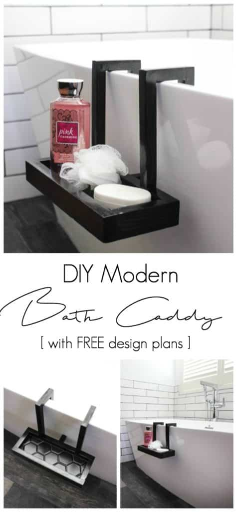 A beautiful modern bath caddy for your chic bathroom! A great woodworking project to make for the bath lover in your life! Download the FREE build plans. LOVE the tiled bottom and the black stain!