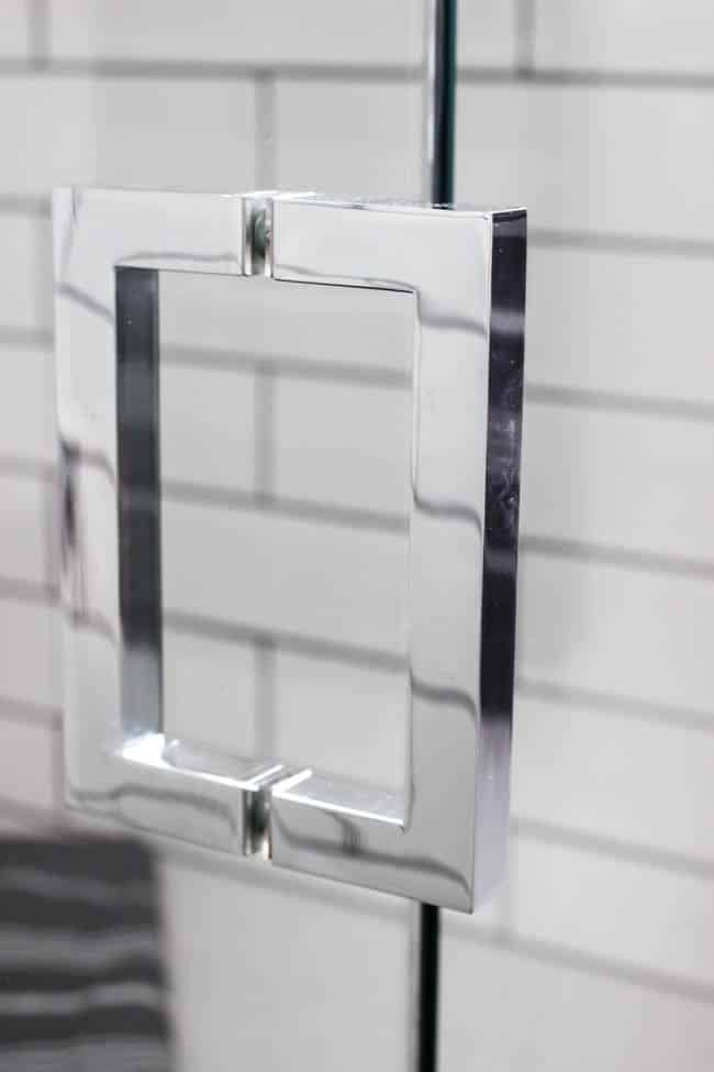 Here is a close-up of the chrome shower door handles!