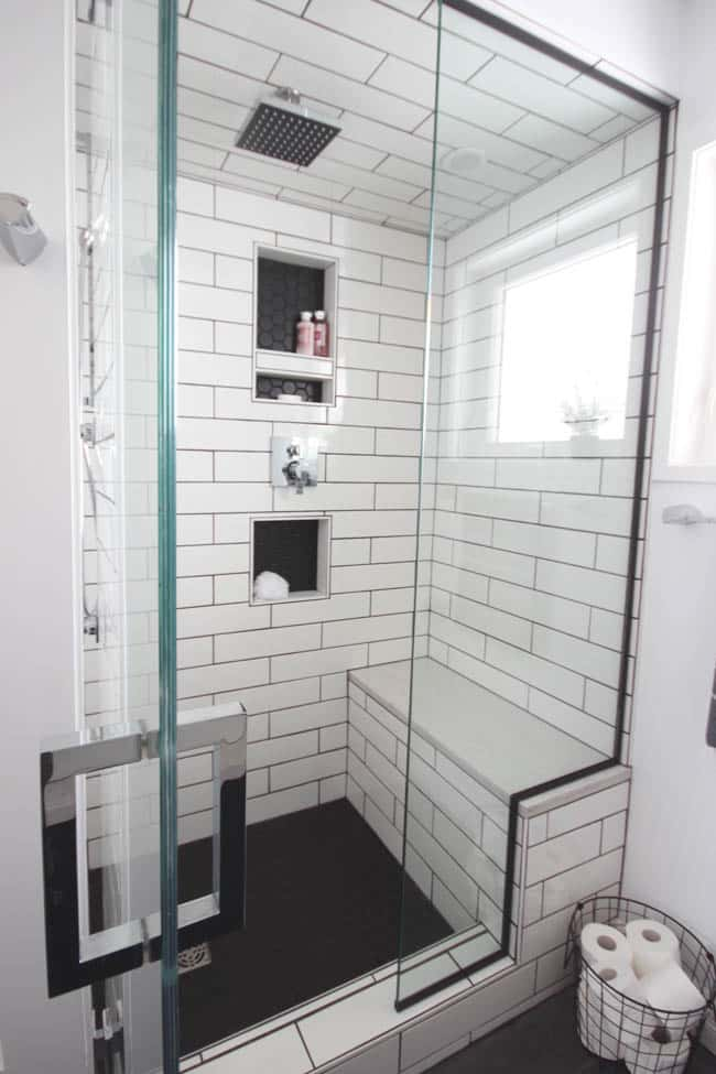 Check out these beautiful glass doors to our tiled shower.