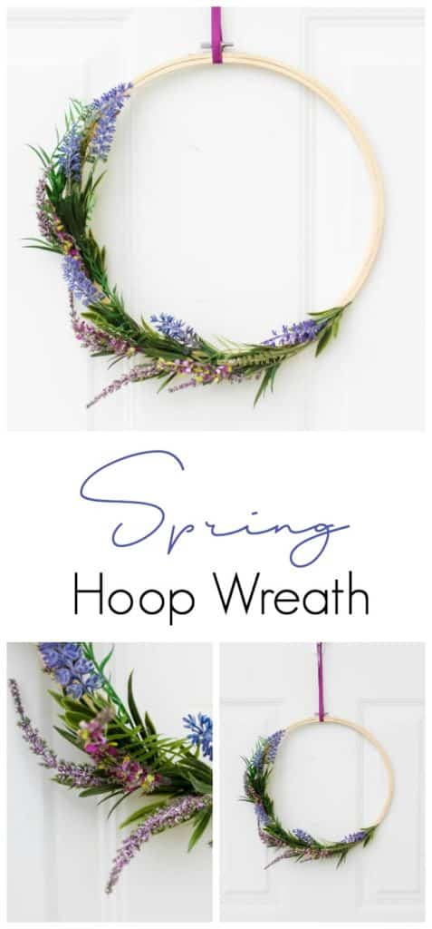 An easy Spring hoop wreath to spruce up your front door! LOVE this Spring entry home decor.