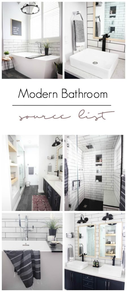 A list of the sources for all of the projects, accessories, faucets, and fixtures in the Modern Master Bathroom Design. Beautiful matte black and chrome finishes with natural wood. Long white subway tiles on walls in shower and behind bath. Beautiful modern and industrial bathroom ideas.