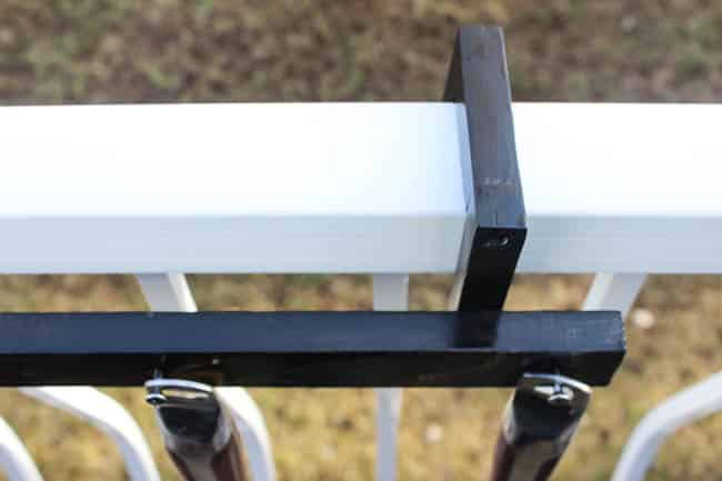 Build the perfect deck accessory in just 10 minutes with this DIY BBQ utensil holder. Modify it to fit your own deck rails. Perfect DIY for men! Any husband, father, or guy who likes BBQing would love one!