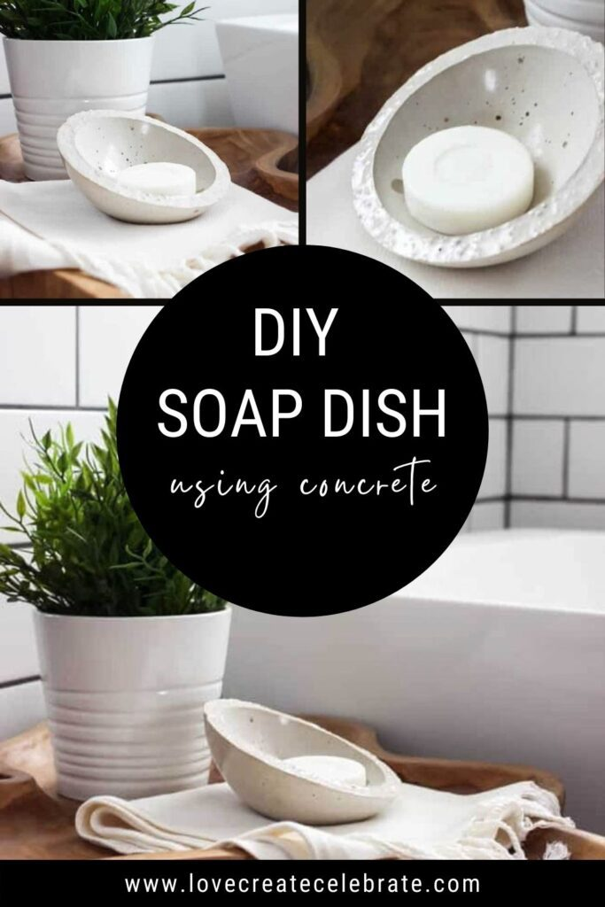 image collage of DIY soap dish with text overlay