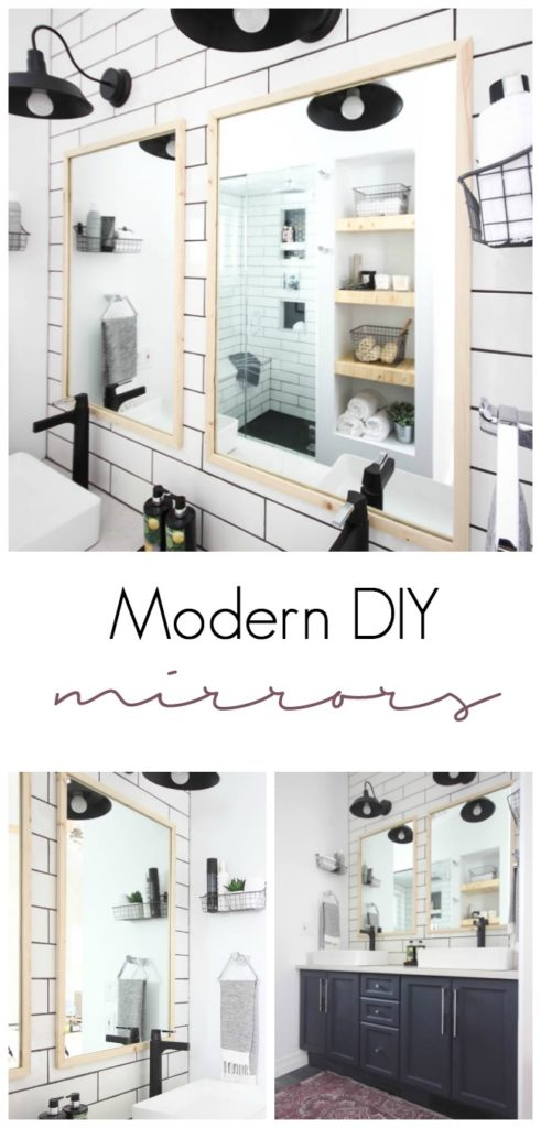 Learn to cut glass and build your own modern mirrors with this DIY tutorial! A simple way to re-use those old mirrors and turn them into something sleek and beautiful! Love the natural wood accents!