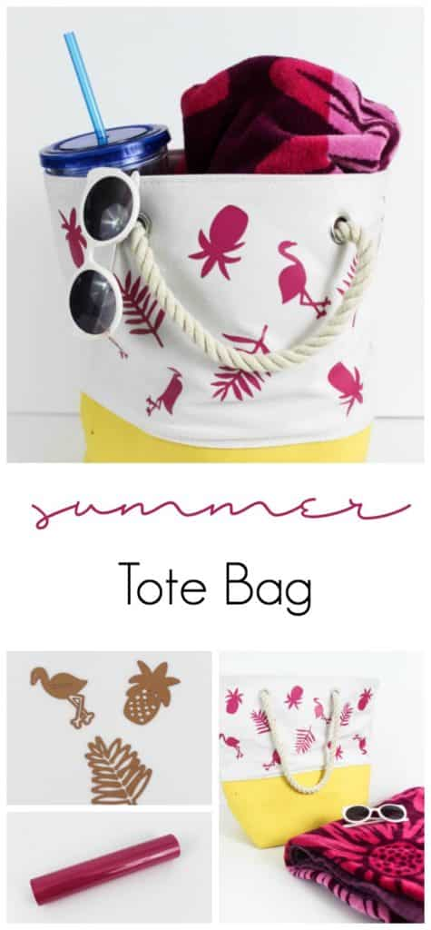 Fun personalized summer tote bag! Make it for yourself or your kids and head to the beach this summer in style. Easy to make with iron-on vinyl!