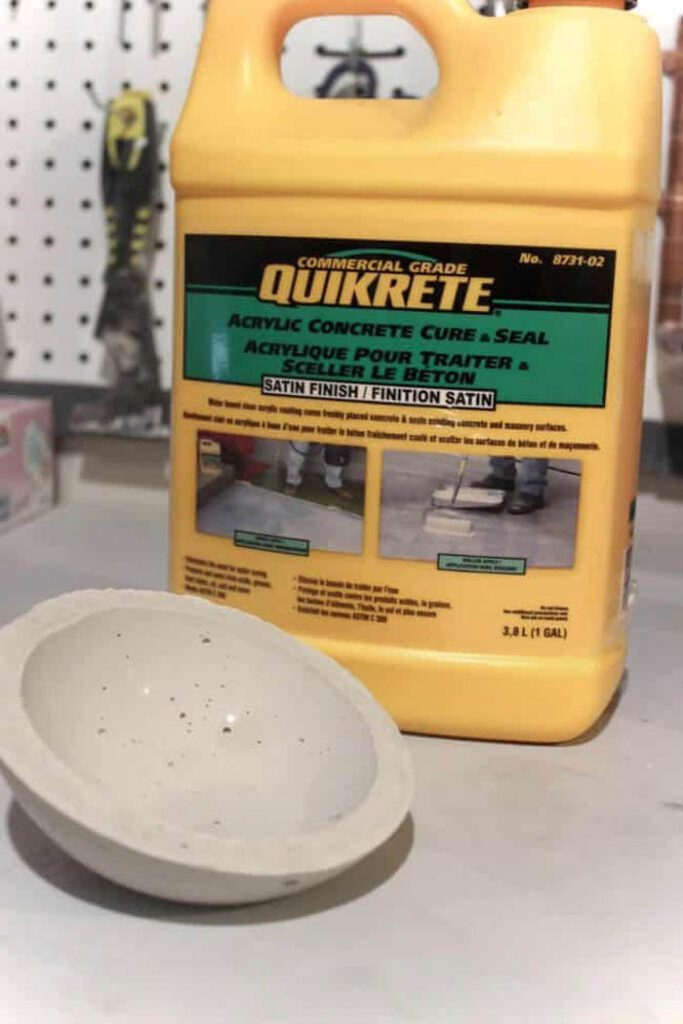 image of container of concrete sealer and DIY soap dish