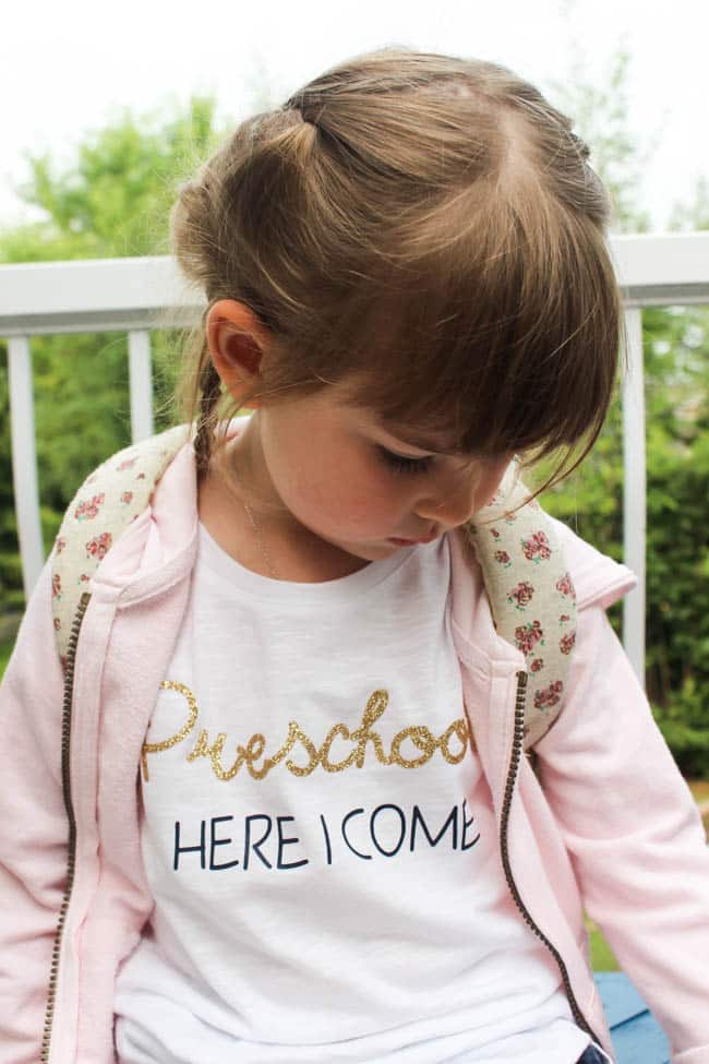 "Little girl in t-shirt with text ""Preschool here I come"""