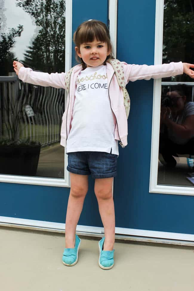 "Little girl wearing t-shirt with text ""Preschool Here I Come"""
