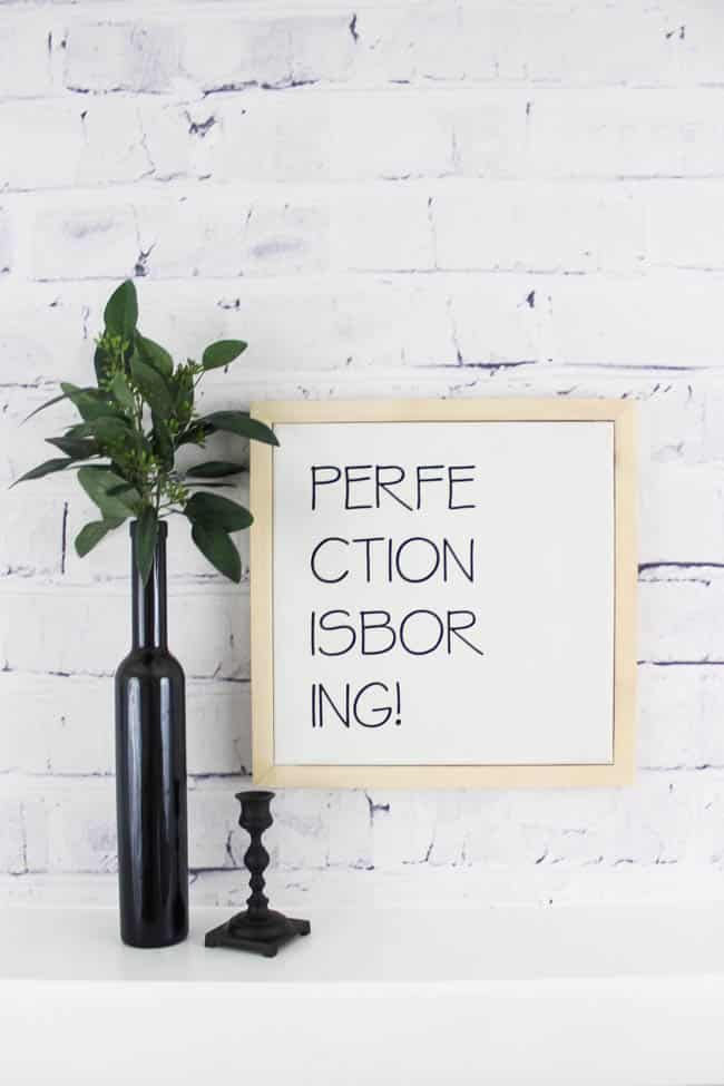 Beautiful DIY white and black art framed in natural wood! Love the typography and the quote. Perfect modern, minimalist or nordic addition to your home!