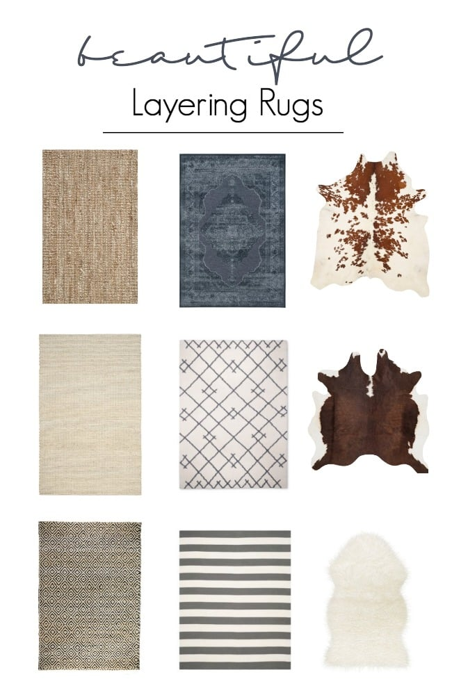Beautifully layered modern modern rugs for any room in the home! LOVE this beautiful design trend and now you can incorporate it into your home with beautifully layered sisal, jute, cowhide, and modern rugs. Love these rug ideas!