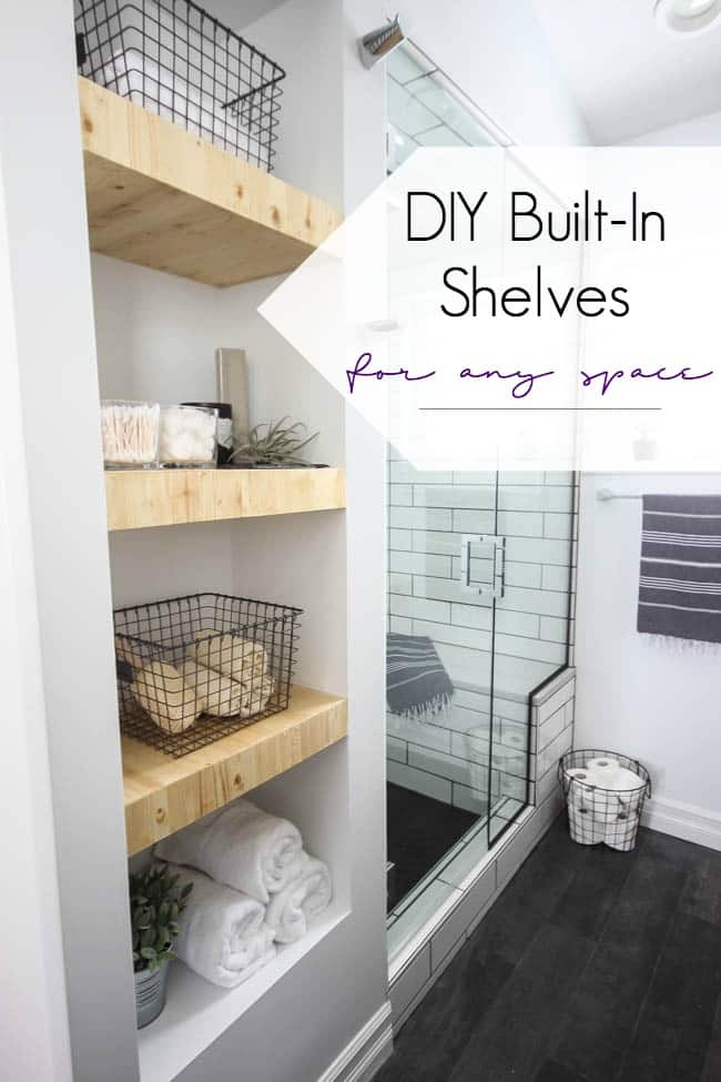 Make your own modern Built-In Shelving with this simple tutorial. Love the natural wood used in this beautiful bathroom renovation! Great tutorial for DIY shelving in the bedroom, living room, or any room!