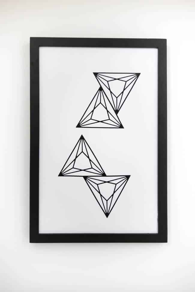 Modern geometric art in just 10 minutes! Love this black and white minimalist, nordic wall decor!
