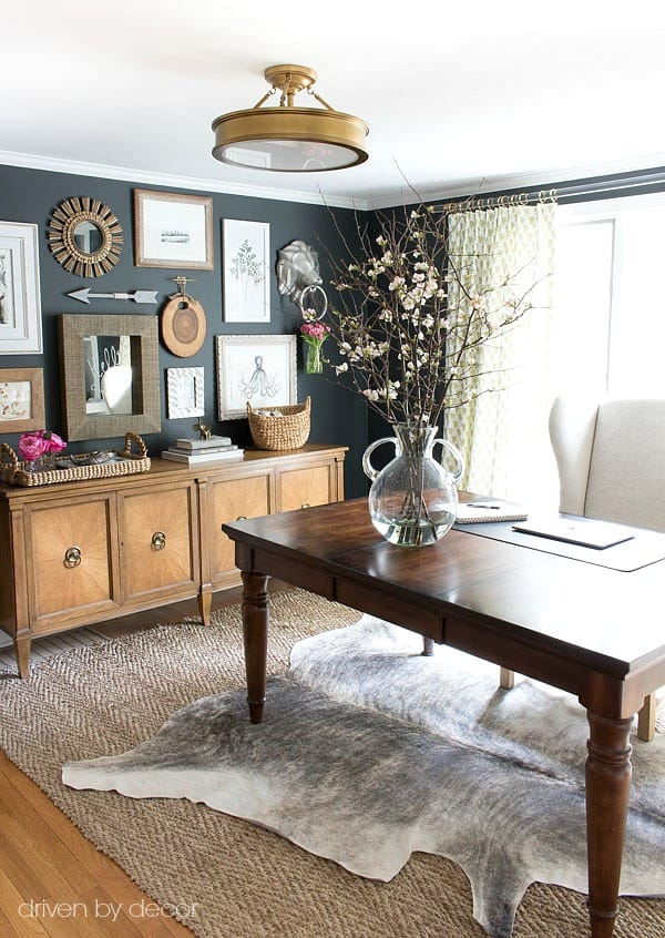 Beautifully layered modern modern rugs for any room in the home! LOVE this beautiful design trend and now you can incorporate it into your home with beautifully layered sisal, jute, cowhide, and modern rugs. Love this office space!