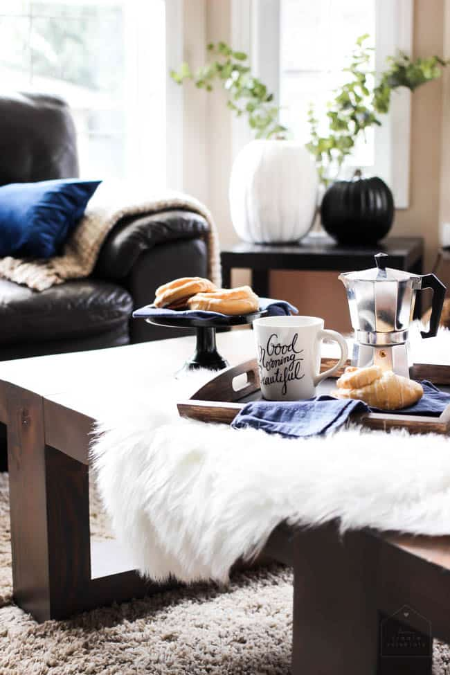 Add an extra touch with a small sheepskin rug on the coffee table