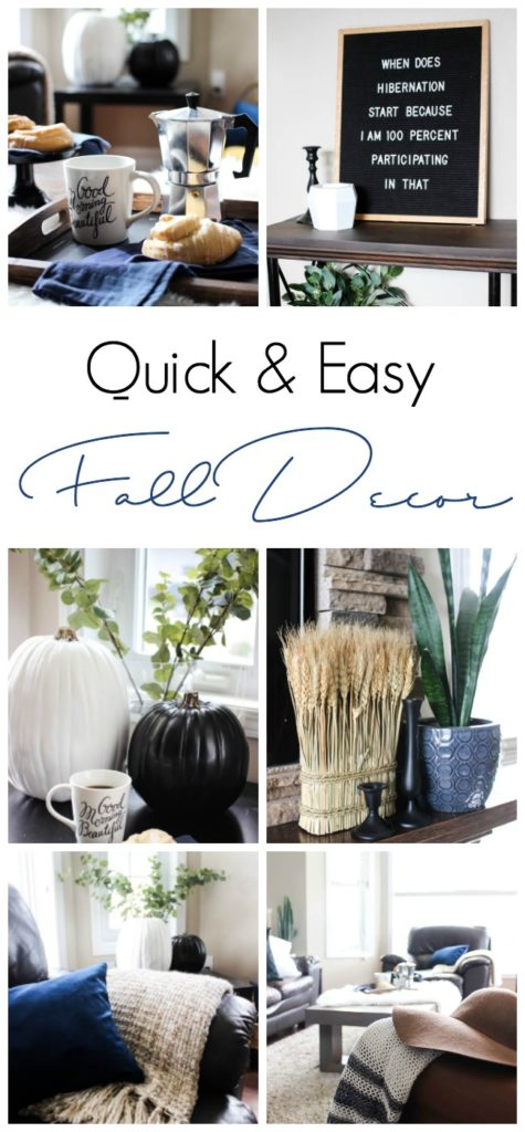 A beautiful fall living room tour! Full of quick and easy fall room decor ideas! Love the brick fireplace and the mix of traditional and non-traditional fall colours in this home tour.