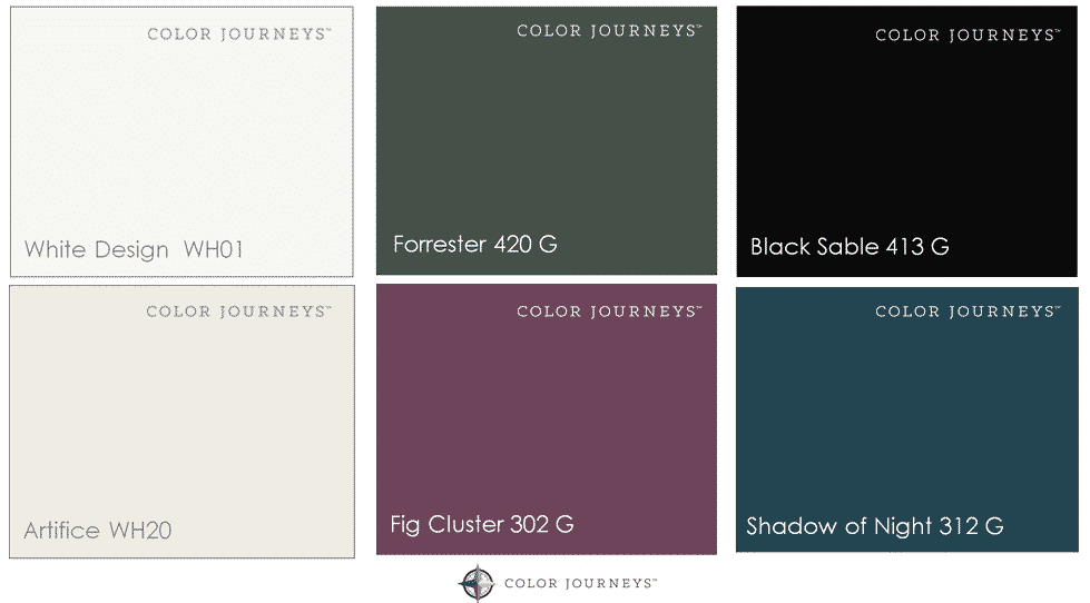 Love this rich and moody home colour palette! So many beautiful inspirational photos to show how to incorporate these paint colours (or colors) into your whole home. A beautiful home colour scheme and great tips for making your own.