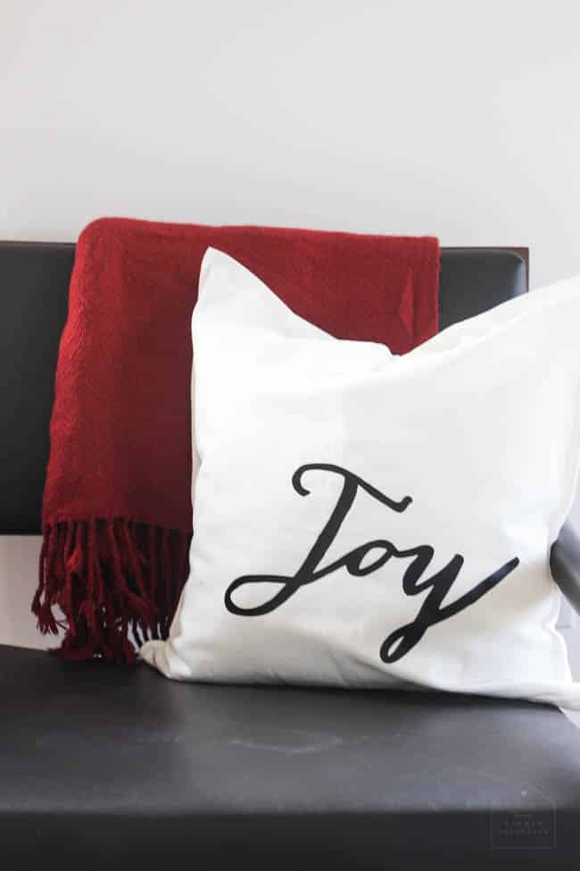A closeup of my Joy pillow