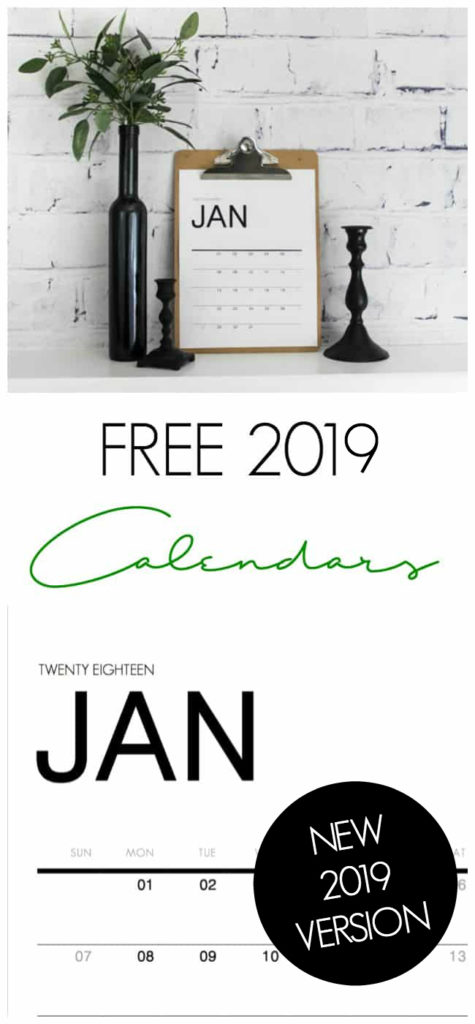 Download a FREE 2019 modern calendar collection. Get organized this year with beautiful monthly calendars from January to December! #newyear #organization #2019 #freeprintables #calendar