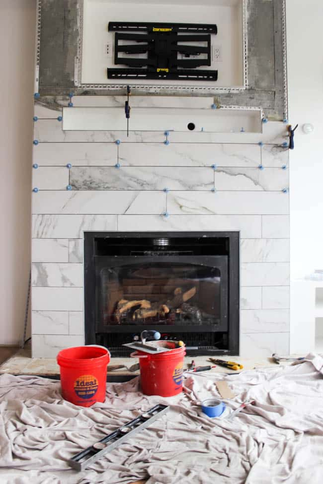 The ATR TIle Alignment System made tiling our fireplace so easy