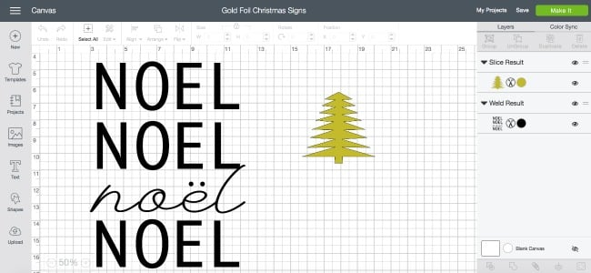 "Make beautiful DIY Gold Foil Signs with this easy tutorial! Use the ""Noel"" Christmas sign, or design your own art with gold foil. A modern DIY for the home this holiday season!"