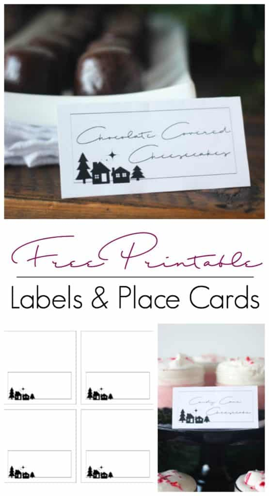 Free printable labels or place cards for the holiday season! Love the pretty modern design on these cards. Perfect for any buffet or coffee bar!