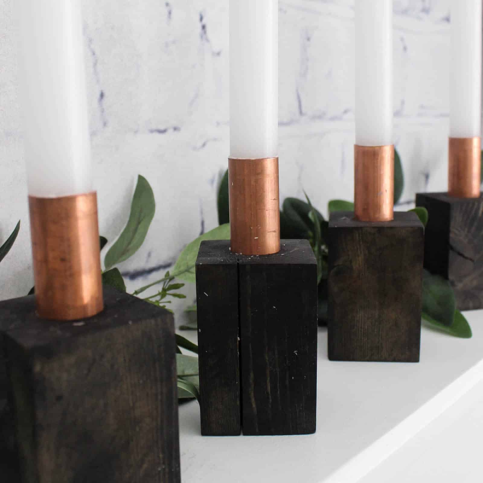 DIY Wood and Copper Candlesticks