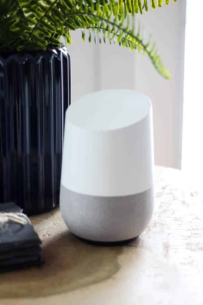 I love how this Google Home device fits in so perfectly with our modern decor
