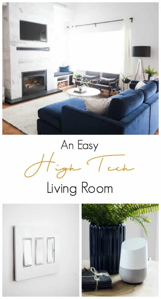 Sharing the fun features of our High Tech Living Room, including a video showing our Radiant by Legrand voice activated lighting system, our Google Home, our Sound Bar, and our Nest Thermostat. Love how easy it is to add these modern features to a regular home!