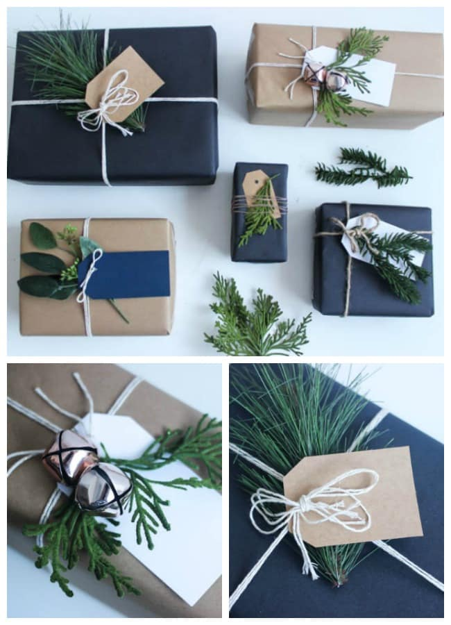 This gift wrap is perfect for the holiday, and you can use any colors, string, and festive holiday greenery to decorate!