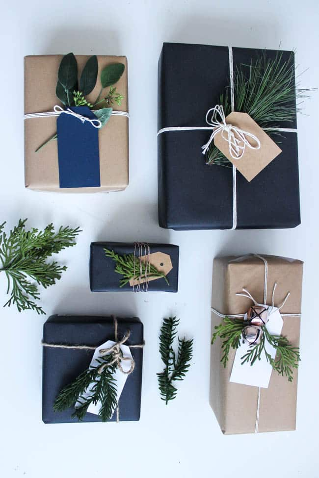 This simple DIY christmas gift wrap is a gorgeous minimal look, perfect for the holiday season