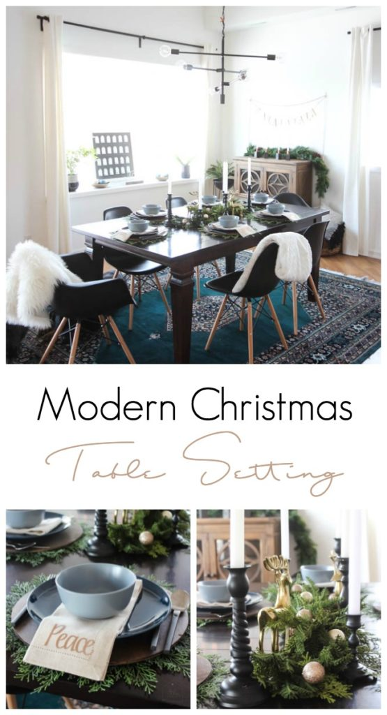 A simple and elegant christmas dining room love create - Modern christmas table settings ideas ...