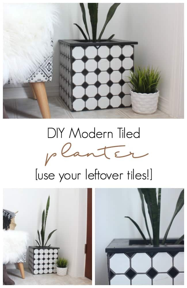 DIY modern Tiled Planter Boxes made with leftover tiles