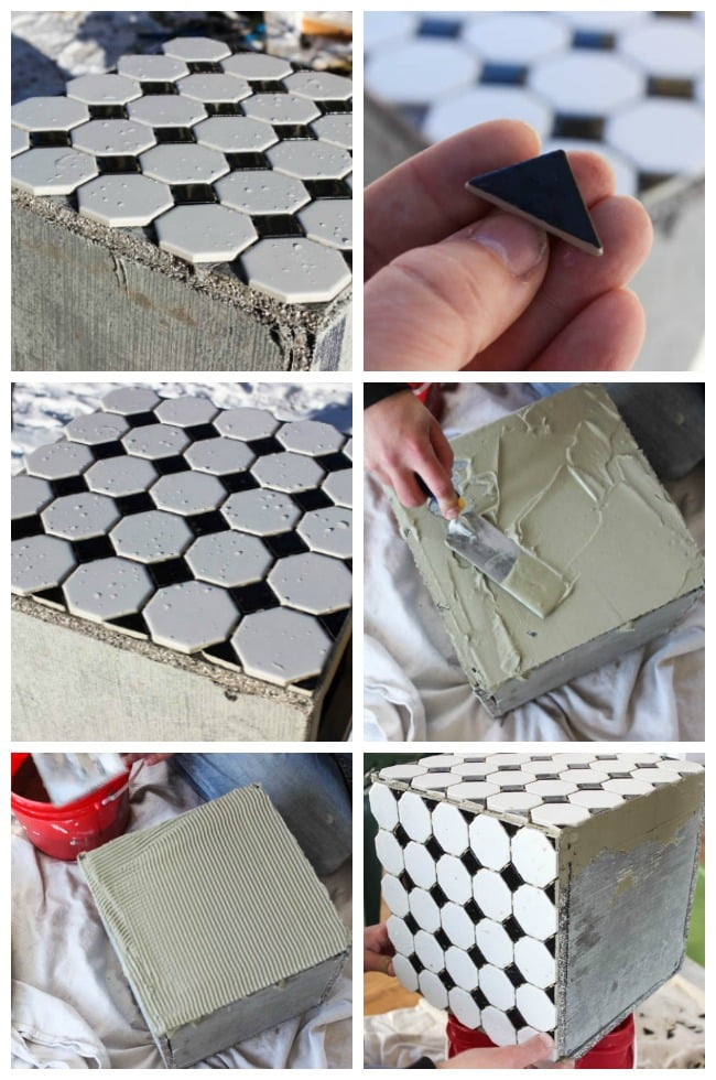 Measure and cut the tile sheets to the measurements of the planter box. Then apply the tiles with grout