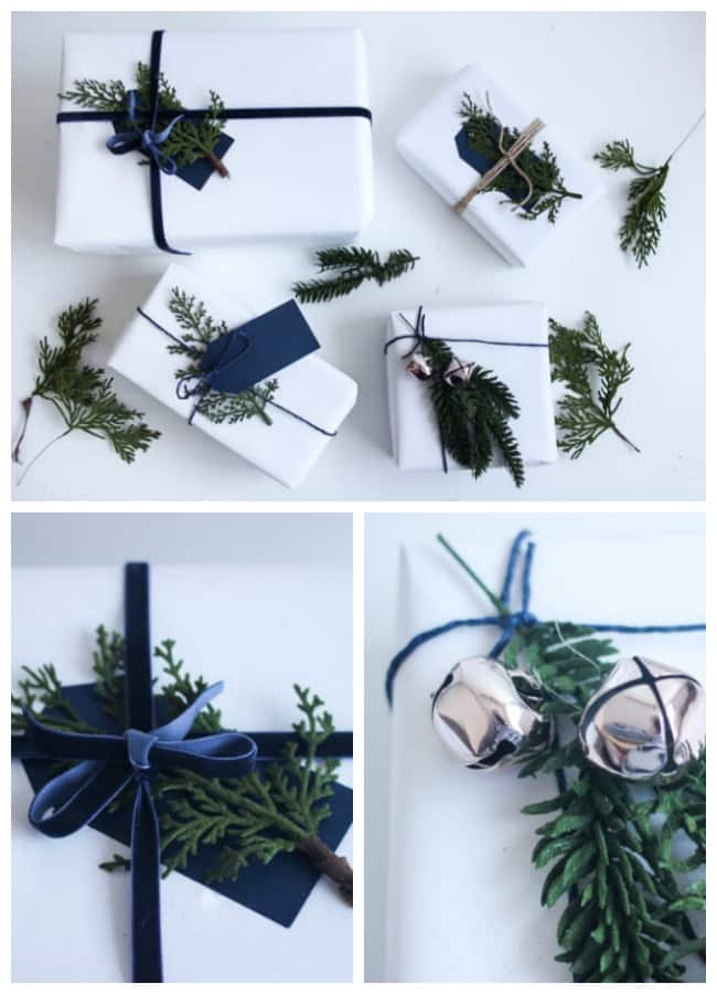 This stunning Christmas gift wrap is made with white wrapping paper, ribbon, and juniper leaves