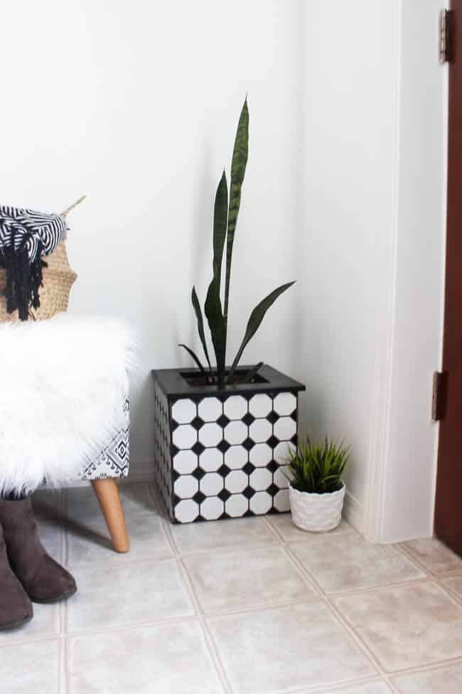 These modern DIY tiled planter boxes are a great way to make use of leftover tiles from a project and create an awesome decor piece