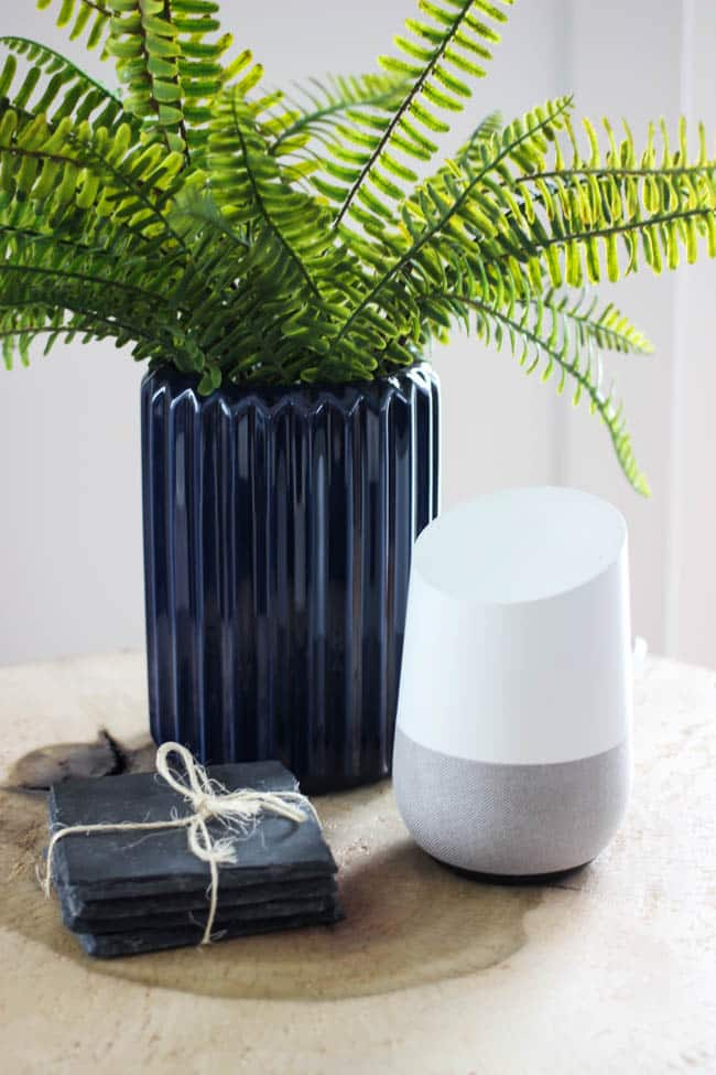Our google home device is high tech and fits in with our minimal modern living room decor