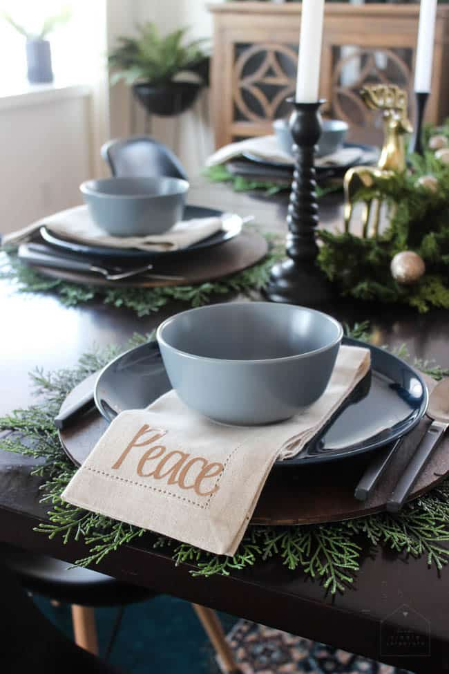 greenery with table ware