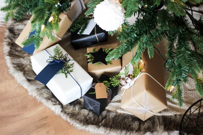 This simple yet stunning DIY gift wrap looks amazing under our Christmas tree